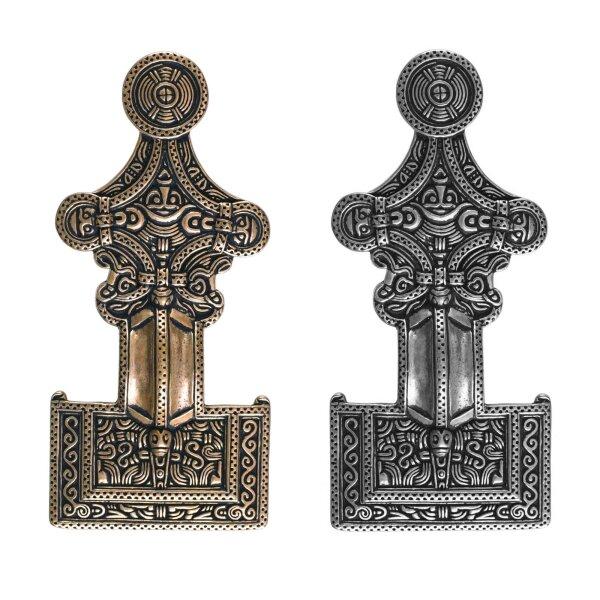 Vehi Mercatus Schnalle 1350-1450 f/ür Riemen bis 15mm Messing versilbert