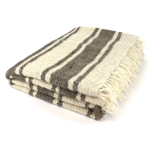 Gigantic handwoven blanket woolwhite with grey stripes 210 x 220 cm
