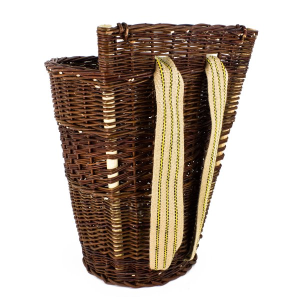 wicker basket with linen straps