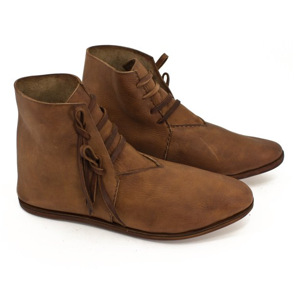 half boots laced with hobnail soles brown