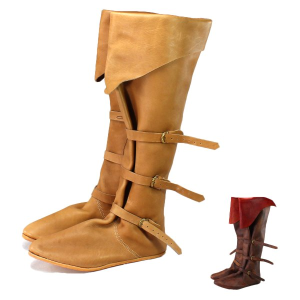 late medieval high bucket boots natural 15th century