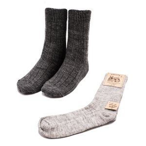 2 pairs fine knitted wool socks grey colour tones size 43-46